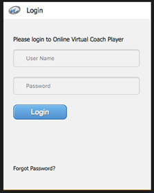 Login to Online Virtual Coach Player